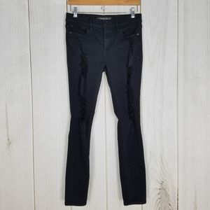 Express Mid-rise Waist Distressed Black Jeggings